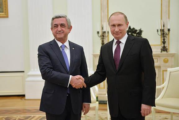 Serzh Sarkisian and Vladamir Putin. (Source: Armenpress)