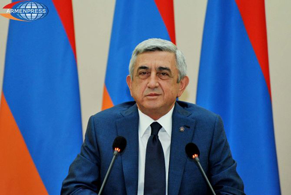 President Sarkisian delivering his congratulatory remarks. (Source: Armenpress)