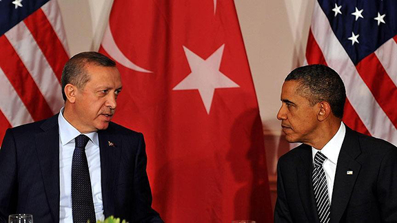 Turkish President Recep Tayyip Erdogan (left) with President Obama