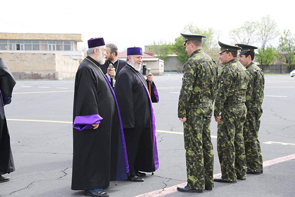 The two pontiffs were greeted by a military guard upon arrival in Stepanakert
