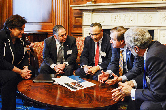 ANCA National and Regional leaders with House Foreign Affairs Committee chairman Ed Royce (R-CA) discussing U.S. policy positions on Artsakh, Armenia and a range of related issues, seen here chatting about the April 21st nationwide opening of the Armenian Genocide era epic, 'The Promise.'