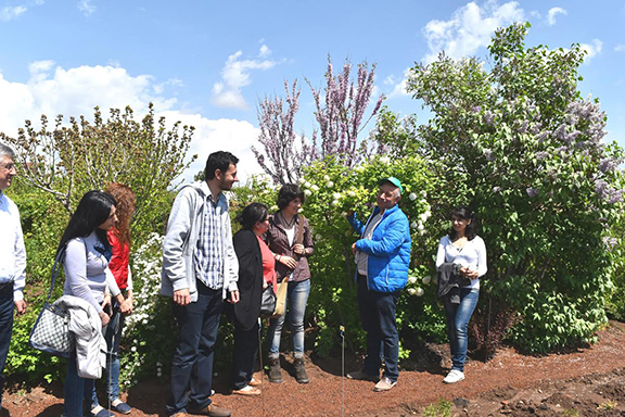 ATP's chief propagator Tigran Palazyan shows guests around the Karin Nursery in a tour that is always animated and informative