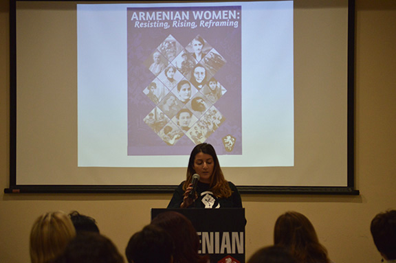 Nora Kayserian delivers her message on feminism and her work with SheFighter
