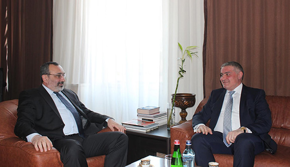Artsakh Foreign Minister receives Hovakimian in Stepanakert on March 24, 2017 (Photo: Ministry of Foreign Affairs of Artsakh)