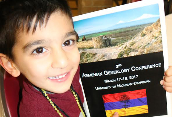 Youngster Nareg Kevorkian attends the the 2nd annual Armenian Genealogy Conference in Dearborn, Michigan
