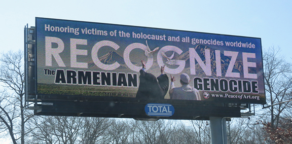 Peace of Art began its 2017 genocide awareness campaign by displaying billboards across Massachusetts from March 10-April 30, 2017 (Photo: Peace of Art)