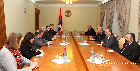 Belgian Parliamentarians (left) meet Artsakh Republic government officials on March 20, 2017 in Stepanakert (Photo: President of the Artsakh Republic)