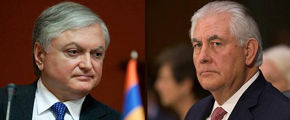 Armenian Foreign Minister Edward Nalbandian (left) and U.S. counterpart Rex Tillerson