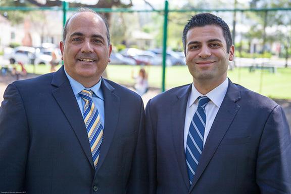 Glendale School Board member and former president Greg Krikorian  (left) endorses Shant Sahakian's campaign for Glendale School Board District D