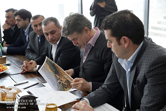 Prime Minister Karen Karapetian was presented the development plan for the Tatev Gate Project on March 11, 2017 (Photo: Press Office of the Government of Armenia)