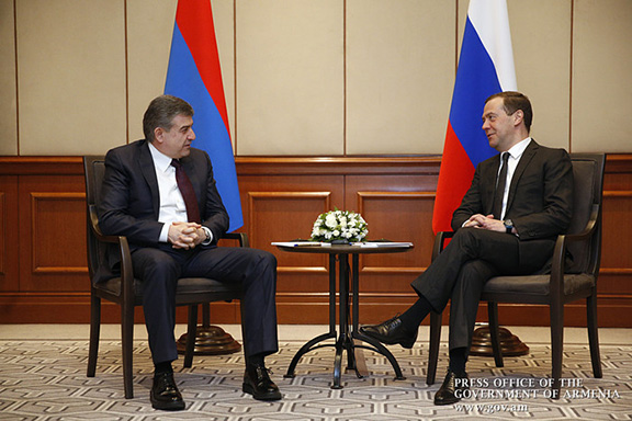 Armenian and Russian Premiers Karen Karapetian (left) and Dmitry Medvedev meet in Bishkek, Kyrgyzstan on March 7. 2017 (Photo: Press Office of the Government of Armenia)