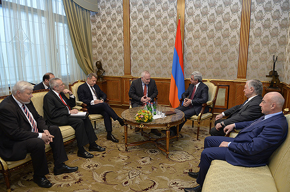 OSCE Minsk Group Co-Chairs meet with President Sarkisian on March 27 in Yerevan (Photo: Press Office of the President of Armenia)