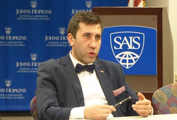 Artsakh Human Rights Ombudsman Ruben Melikyan speaking at the SAIS Center for Transatlantic Relations