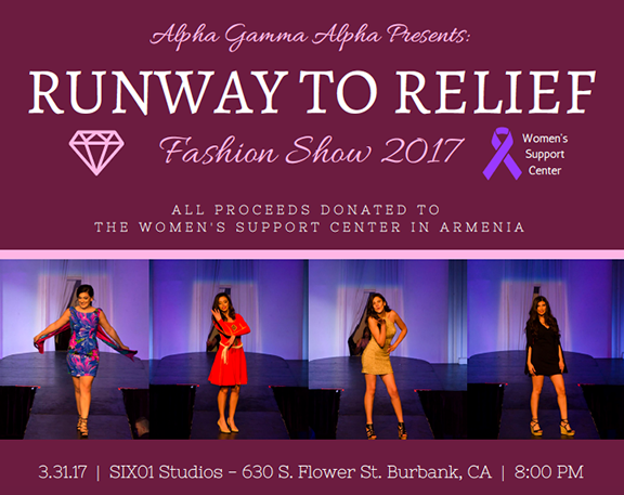 "Alpha Gamma Alpha Inc., will be hosting its third ever ""Runway to Relief"" Fashion Show at Six01 Studios in Burbank on March 31"