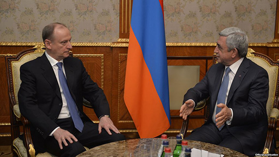 President Serzh Sarkisian (right) meets in Yerevan with Nikolay Patrushev, secretary of Russia's Security Council on March 6, 2017 (Photo: Press Office of the Armenian President)