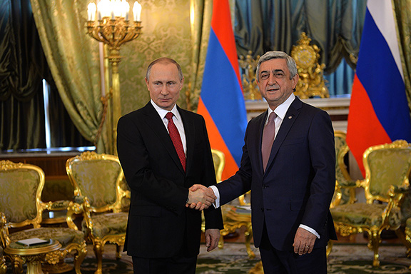 Russian and Armenian presidents Vladimir Putin (left) and Serzh Sarkisian in Moscow on March 15, 2017 (Photo: Press Office of the President of Armenia)