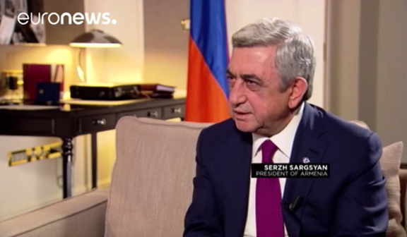 Serzh Sarkisian during interview with Euronews (Photo: Euronews/Video Screenshot)