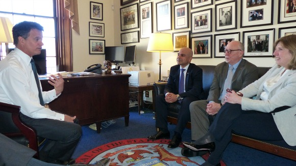 Rep. David Trott (R-MI), the lead author of bipartisan anti-genocide legislation that seeks to apply the lessons of the Armenian Genocide to prevent modern-day atrocities, meeting with the director of The Promise, Oscar winner Terry George, and executive producer Eric Esrailian.