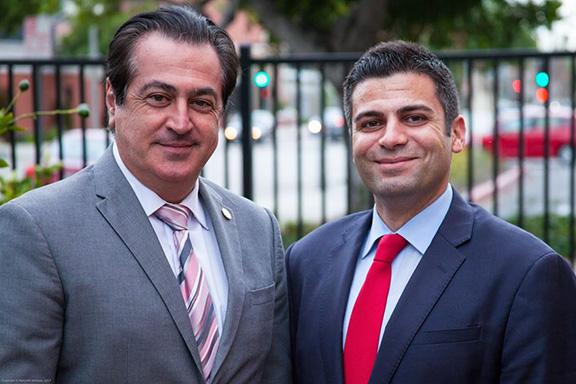 Glendale City Councilmember Vartan Gharpetian (left) endorses Shant Sahakian in his campaign for Glendale School Board District D