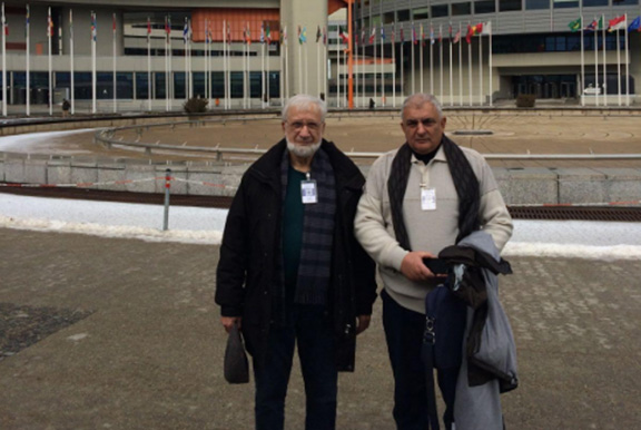 The Head of the IT department of YerPhI Zaven Akopov and YerPhI director Ashot Chilingarian visiting the IAEA headquarters in Vienna