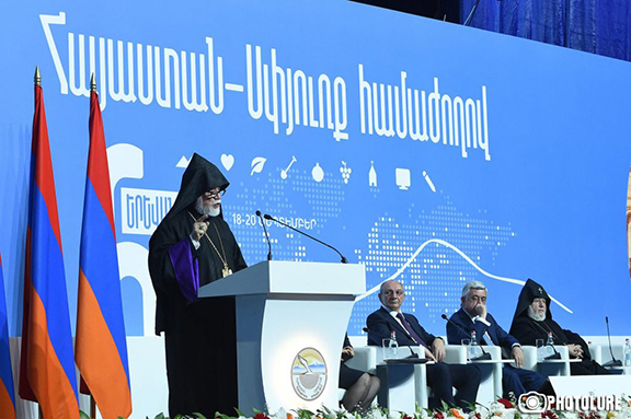 His Holiness Aram I addressing the Sixth Armenia-Diaspora Conference (Photo: Photolure/Hayk Baghdasaryan)