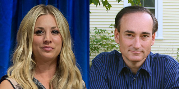 """Star of """"The Big Bang Theory"""" Kaley Cuoco (L) will produce and star in the limited series adaptation of bestselling Armenian-American author Chris Bohjalian's (R) upcoming novel The Flight Attendant"""