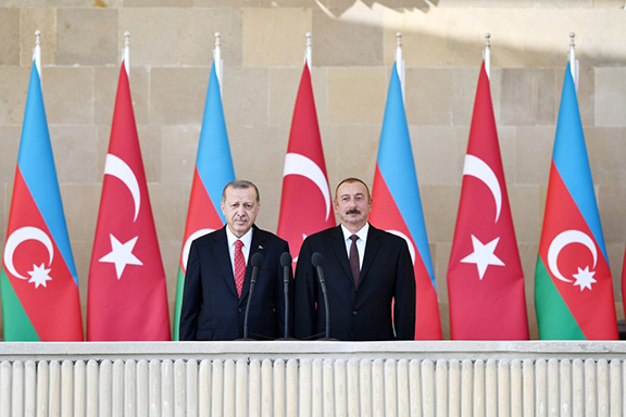 Turkish President Recep Tayyip Erdogan with his Azerbaijani counterpart Ilham Aliyev in Baku on Sept. 15