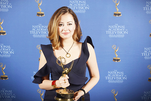 Anush Elbakyan with one of her Emmy Awards