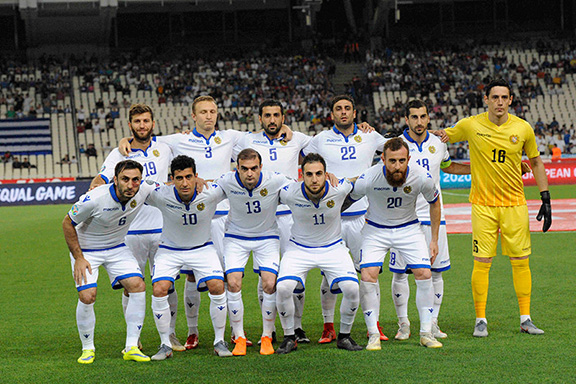 Armenia's National Soccer Team ahead of the match with Greece on June 11