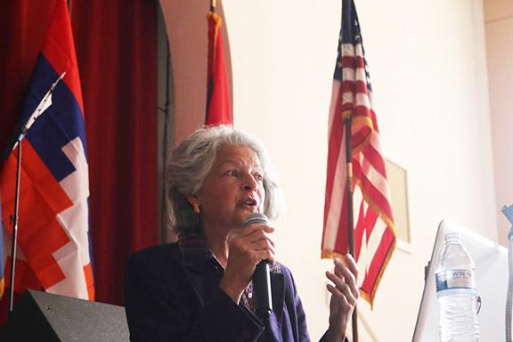 Ruth Thomasian addresses the crowd at St. John Garabed