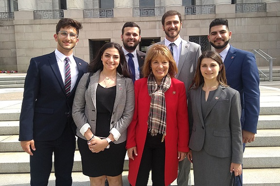 Congressional Armenian Caucus Co-Chair Jackie Speier (D-CA) with ANCA Projects Director Sipan Ohannesian and a portion of the 2019 ANCA Leo Sarkisian Summer interns, who had just finished a marathon day of Capitol Hill advocacy in support of $40 Million in democracy assistance to Armenia.
