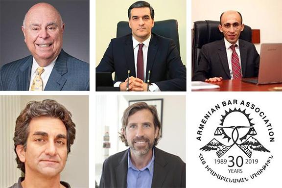 Top row l to r: Judge Dickran Tevrizian, Jr., Honorable Arman Tatoyan, Honorable Artak Beglaryan. Above l to r: Matthew Karanian, Esq., Thaddeus Stauber, Esq., ABA logo