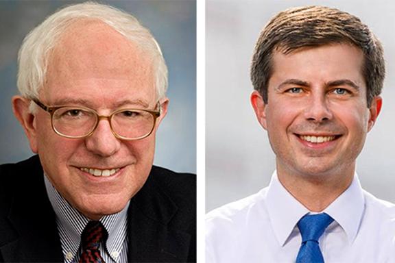 Senator Bernie Sanders (left) and  South Bend, Ind. Mayor Pete Buttigieg
