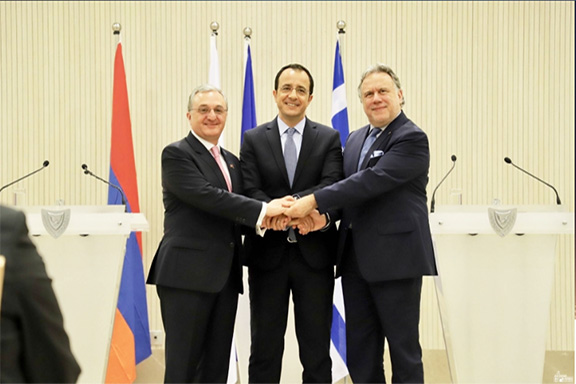From left, Armenian Foreign Minister Zohrab Mnatsakanyan; Cypriot Foreign Minister Nicos Christodoulides; and Greek Foreign MinisterGiorgos Katrougalos