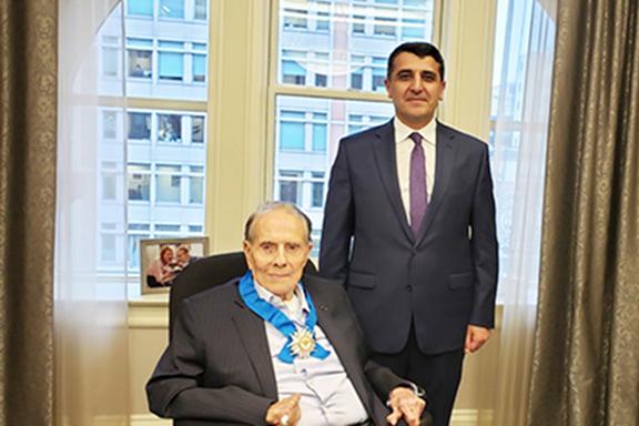 Armenia's Ambassador to U.S. Varuzhan Nersisyan with Senator Bob Dole after bestowing him with Armenia's Order of Honor in 2019