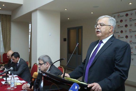 ARF Bureau chairman Hagop Der Khachadourian addresses the opening of a Hai-Tahd conference in Yerevan
