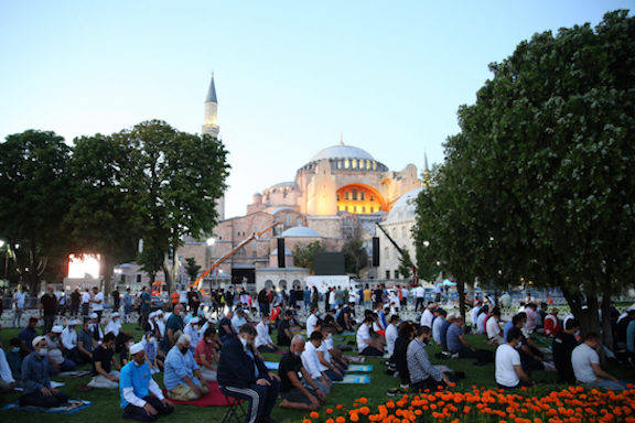 Thousands prayed on the grounds of the Hagia Sophia on Friday, the first day when it reopened as a mosque