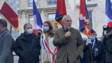 French lawmaker François Pupponi, who introduced the measure, addresses a protest in Paris on Oct. 13