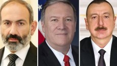 From left: Prime Minister Nikol Pashinyan, Secretary of State Mike Pompeo and Azerbaijani President Ilham Aliyev