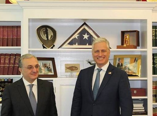 Armenia's Foreign Minister Zohrab Mnatsakanyan with U.S. National Security Advisor Robert C. O'Brien on Oct. 23 in Washington