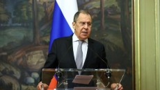 Russia's Foreign Minister Sergei Lavrov speaks to reporters on Oct. 12 in Moscow