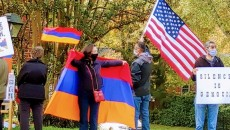 Armenians in Richmond protest the Turkish and Azerbaijani aggression against Armenia and Artsakh