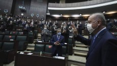 "Erdogan arrives at the Turkish parliament on Nov. 11 to ""declare victory"" in Karabakh (AP photo)"