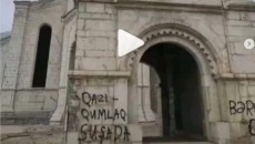 The Ghazanchetsots Church in Shushi was vandalized by occupying Azerbaijanis