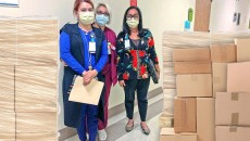 From l to r: Marianna Kmbikyan, Interim Chief Financial Officer, Luiza Khachkalyan, Senior Patient Representative (Billing), and Zeny Jones, Director of Supply Chain at CHA HPMC organize medical supply donation to help those in need in Armenia.