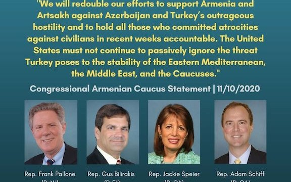 Congressional Armenian Caucus Co-Chairs pledged to hold the Erdogan and Aliyev regimes accountable for atrocities against Armenian civilians, reported the Armenian National Committee of America.