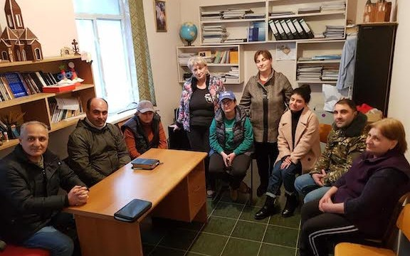 Some of the Evangelical Church of Armenia members gather for a Bible Study