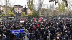 Protesters in front of Armenia's parliament building on Dec. 9