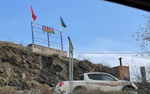 VIEW GALLERY: Entrance to Shushi with an Azerbaijani sign (All photos by Dickran Khodanian)