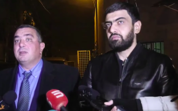 Goris Mayor Arush Arushanyan (left) with his attorney Armen Melkonyan on Dec. 22